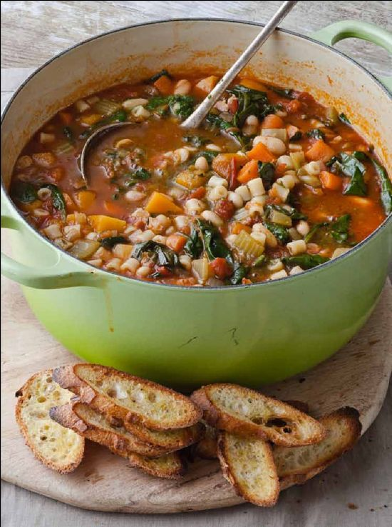 Barefoot Contessa's Winter Minestrone & Garlic Bruschetta.  This is an amazingly good soup!  I did not have the pancetta available to put in the soup, so I substituted a good thick smokey bacon, and thought it was fabulous.  I also made the crusty bread recipe that I found on Pinterest with this, and it was a great addition.  Easy and a fast hearty soup to make!  10 Stars!!!