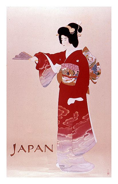 Japanese lady in a 1950s travel poster