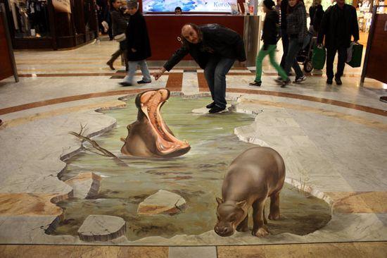Manfred Stader Hippo 3D pavement art