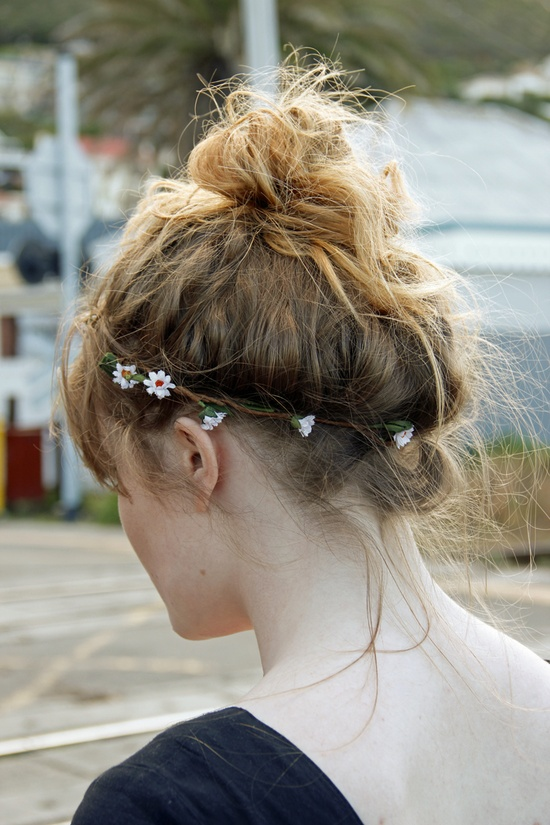 top knot & flowers
