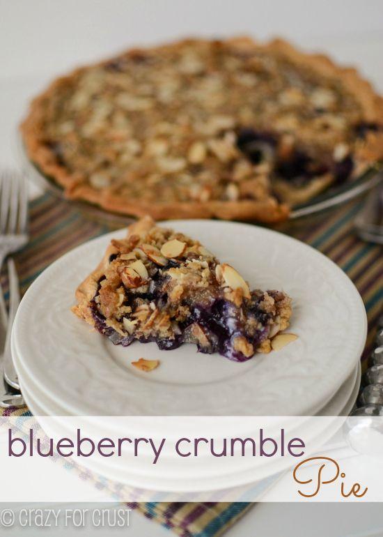 Blueberry Crumb Pie by crazyforcrust.com