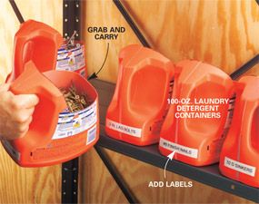 1 of 2 Recycle laundry detergent bottles  Save those 100-oz. laundry detergent bottles and use them to hold jumbo supplies of screws and nails. Cut the top off the bottle to create a wide-mouth bin with a built-in handl