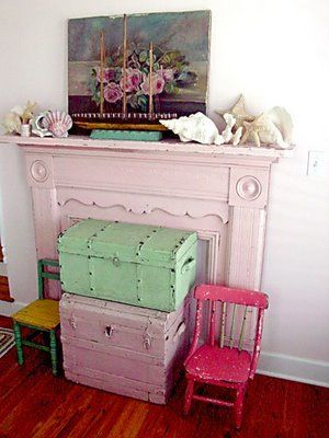 Beach cottage vintage mantel & decor #chippy #shabby #chic #pink #green #seashells #oilpainting #roses #trunk #suitcase #beach #coastal #cottage