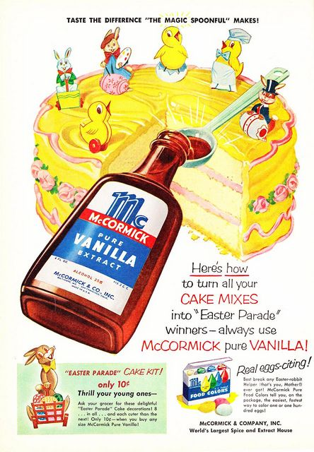 Terrifically cute 1950s ad for McCormick Vanilla featuring a marvelous Easter cake. #vintage #ad #cake #vanilla #cooking #baking #decorated #pink #yellow #vintage #retro #Easter #kitsch #1950s #fifties