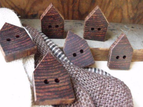 Handmade Wooden House Buttons: Set of 6.