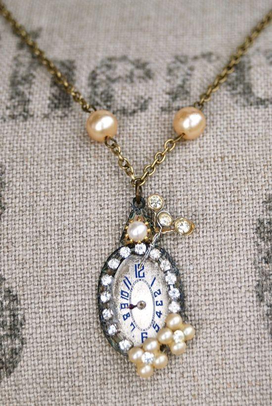 pretty vintage watch face jewelry