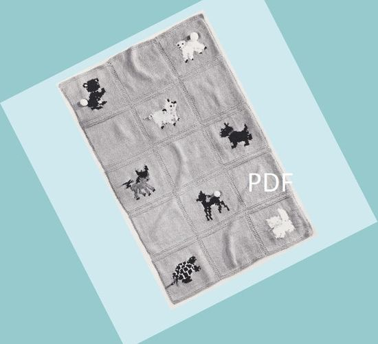 Vintage Baby Blanket Knitting Pattern PDF - Cute Baby Animals -  2 Matching Sweaters Patterns