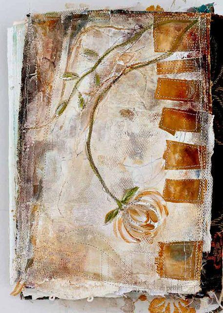 painted fabric book cover by dj pettitt, via Flickr