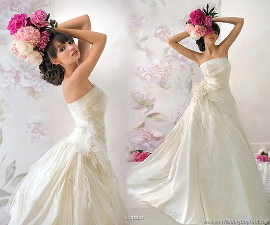 Papilio ~ Dryad strapless dress with side ruching and 3d fabric flower feature.