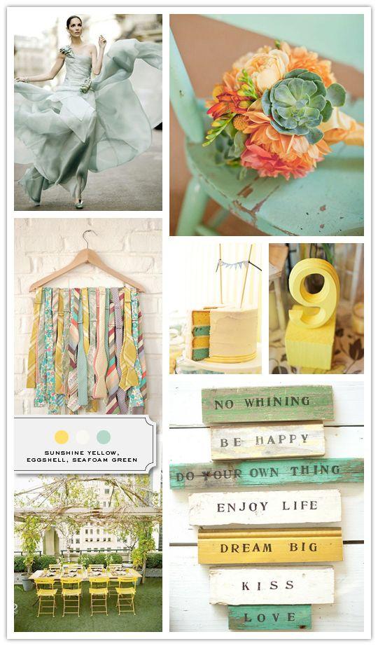 wedding color combo: yellow, eggshell and seafoam green/aqua