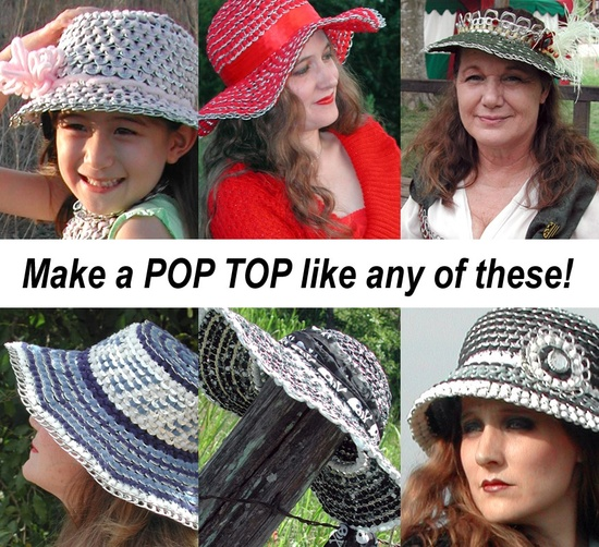 Tabistry POP TOP on Etsy--cute hat patterns, lots of great ideas here! This seller obviously has a way with this material, and a good source!
