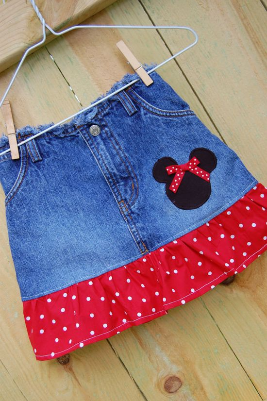 repurpose jeans into a themed skirt such as disney