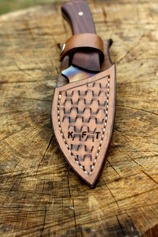 Handmade knives- excellent Christmas idea!!! Medium Rosewood Knife with Personalized Leather Sheath. $95.00, via Etsy.