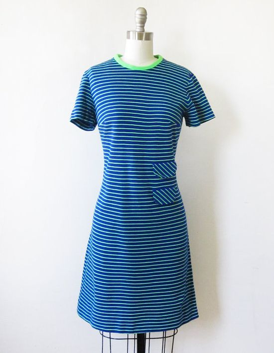 1960's striped mod scooter dress