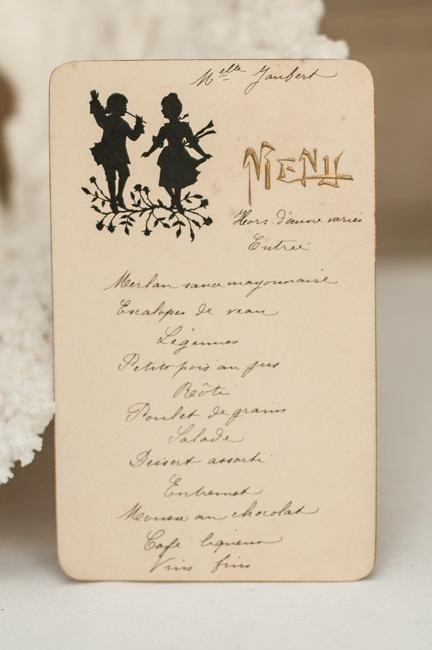 Antique c. 1900 French Handwritten Menu