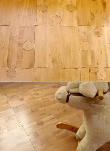 puzzle piece flooring -- can be used with different colors