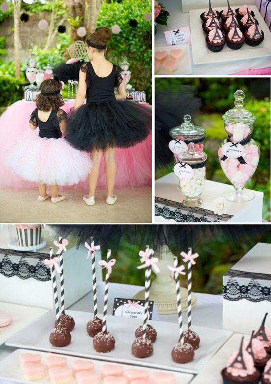 Ballerina in Paris themed birthday party via Kara's Party Ideas karaspartyideas.com #ballerina #paris #birthday #party #ideas #cake #girl