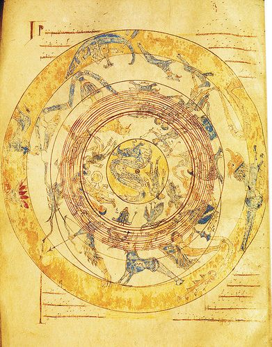 """Map of heaven with Zodiac  From a medieval illuminated manuscript from Burgo de Osma, which contains among others the book of Marcus Tullius Cicero with the title: """"Somnium Scipionis"""" with a comment from Macrobius.  12th century"""