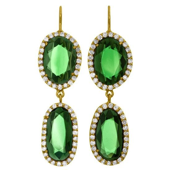 Green Tourmaline Double Drop Earrings
