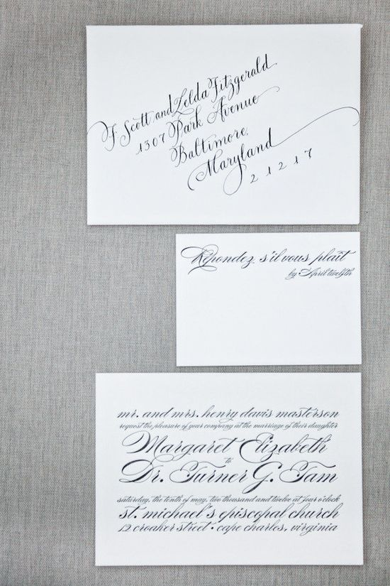 Magnificent #calligraphy will NEVER go out of wedding style ~ especially when it's from http://janboyd.com !! Invitations by http://tobydondis.com / Photography by kellydillonphoto.com via Style Me Pretty  Massachusetts
