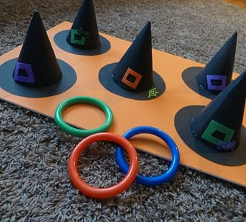 DIY game for a Halloween party- Witch Ring Toss