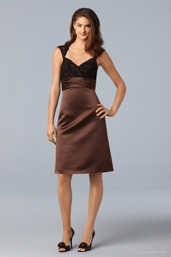Impeccable Satin V-neckline Lace Bodice Knee-length Bridesmaid Dress Ibd2111 Available To All