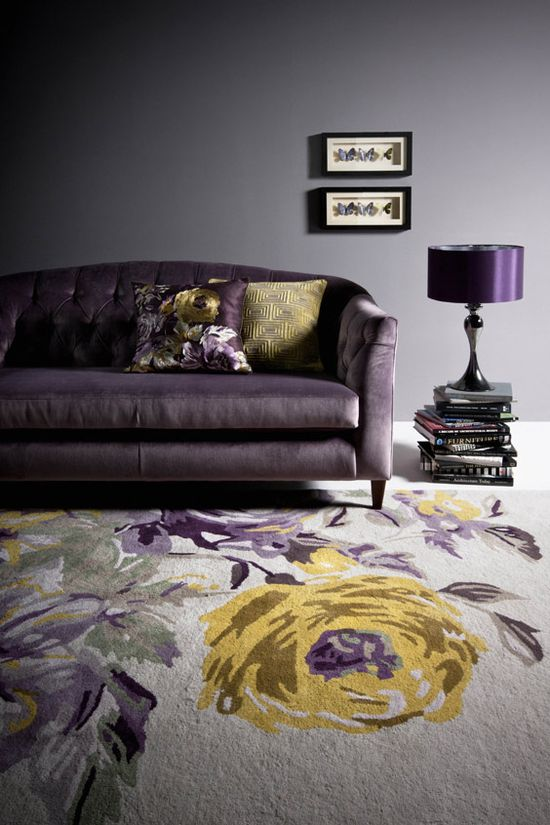 purple sofa & beautiful carpet