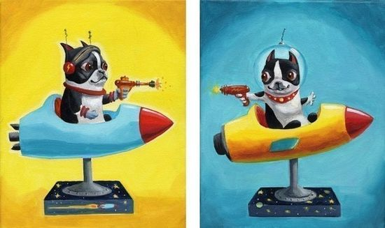 Space Rangers SET Boston Terrier Print from oil by rubenacker, $28.00
