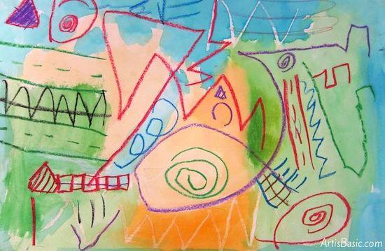 Kindergarten Line Paintings - Art is Basic