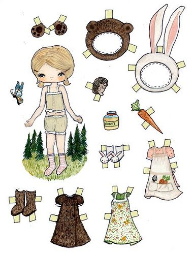 bear and bunny paper doll by the Poppy Tree