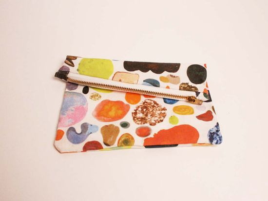 Mini Abstract Art Zipper Clutch by kindah on Etsy, $34.00