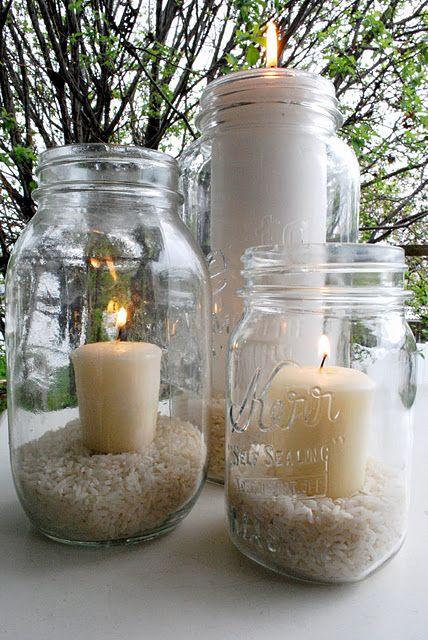 outdoor wedding lights using rice