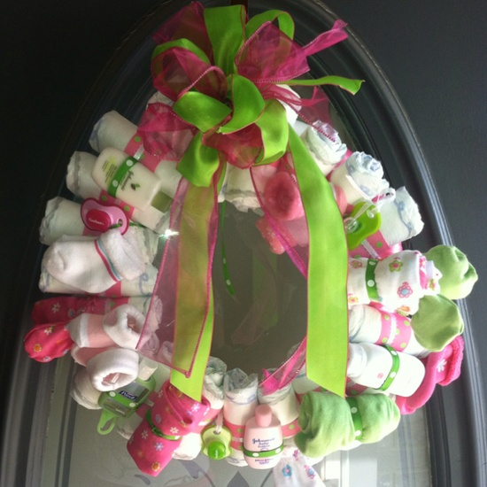 Diaper wreath for baby shower