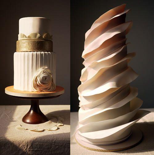 Ombre ruffled wedding cake.