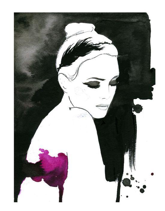 Dark Ballerina No. 2, #watercolor #fashion #illustration by Jessica Durrant