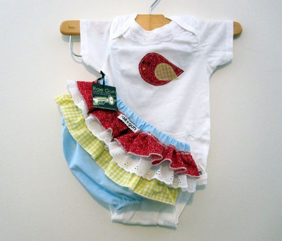Onesie With Ruffled Bloomers with Red with Birds Gift Set