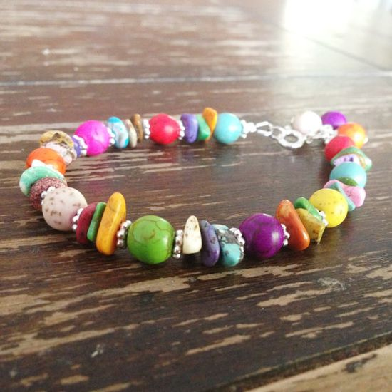 Multi Color Turquoise Bracelet Sterling Silver by jewelrybycarmal, $33.00