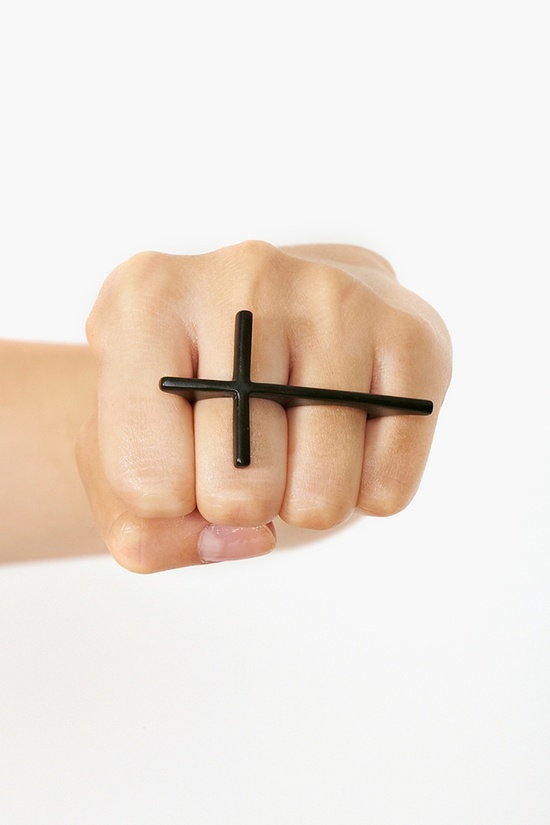 Holy Two-Finger Ring in Black