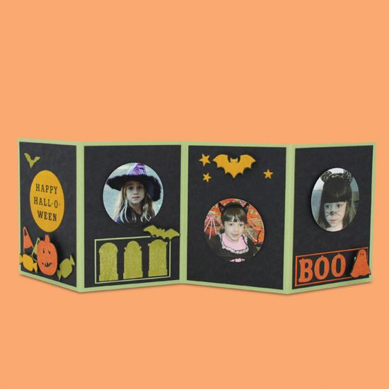 Halloween Accordion Photo Card - Scrapbook.com - Great idea to capture what each child dressed up as for Halloween year after year! #scrapbooking #cardmaking #halloween #marthastewartcrafts
