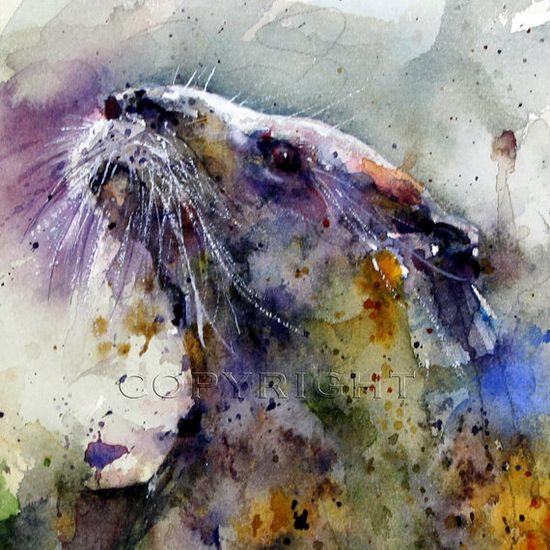 OTTER Watercolor Print by Dean Crouser von DeanCrouserArt auf Etsy, $45,00