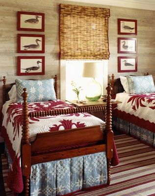 Rustic & cozy bedroom, love the red!