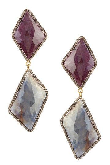 Mixed Sapphire & Champagne Diamond Double Drop Earrings