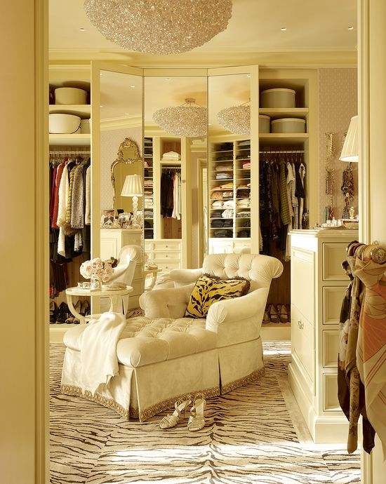 beautiful dressing room with three way mirror