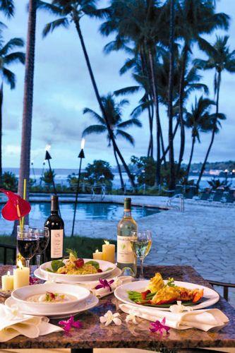 Dinner at the Kamaaina Terrace of the Keauhou Beach Resort, Kona, Hawaii