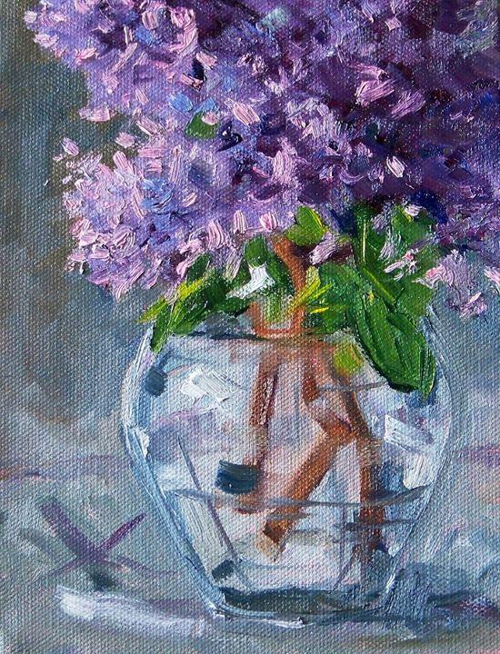Lilacs, Original Still Life, Flower Painting, Oil on Canvas, 6x8, Floral, Purple, Lavender, Glass, Vase