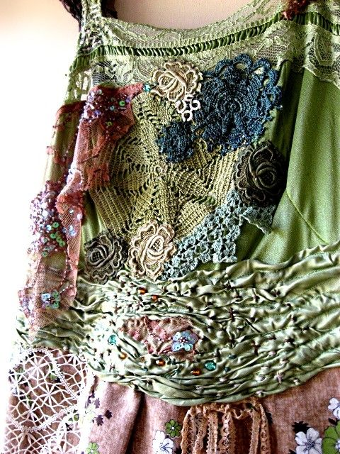 antique doilies, hand stitching and ruching.  gorgeous.