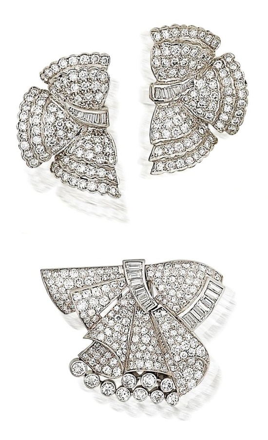 A diamond clip brooch and a pair of diamond earrings  The brooch of ribbon bow design, set throughout with baguette and brilliant-cut diamonds, mounted in platinum; the earrings of stylized bow design, each set throughout with tapered baguette and brilliant-cut diamonds, mounted in 18k white gold