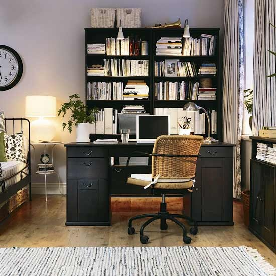 Ikea office desk- like the idea of bed and office next to each other here. Also like the lighting on the bookshelf.
