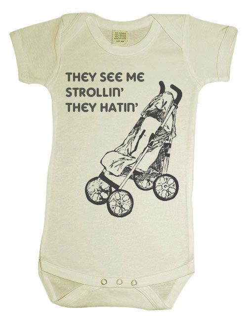 Items similar to They See Me Strollin baby onesie // cream on Etsy