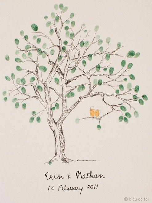 Guest book fingerprint tree hand drawn.